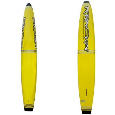 Yellow Paddleboard with Silver & Grey Stripes -